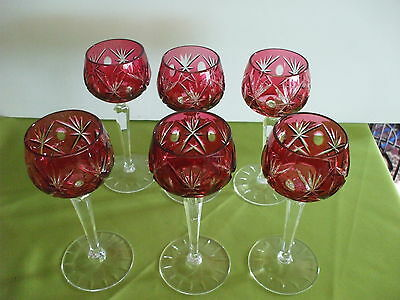 6– 6 oz Cranberry/Ruby Cut to Clear Crystal Wine Hocks Glasses Echt Bleikristall