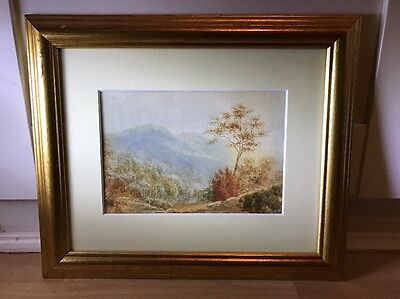 Lovely Vintage 1930's Watercolour Painting Of Landscape In Gold Frame