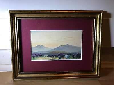 Beautiful Victorian Watercolour Painting Of Landscape In Gold Frame