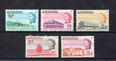 set of 5 mint QEII stamps from antigua. 1966