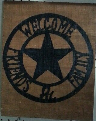 Western Welcome Family & Friends Texas Star Wood Rustic Home Decor Sign