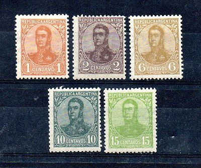set of 5 mint 1908 stamps from argentina. cat £5