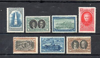 set of 7 mint 1910 stamps from argentina. centenary of spainish viceroy. cat £10