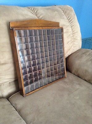 100 Thimble Display Case - wood with plexiglass slide cover