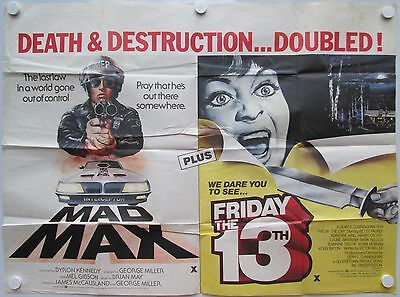 Friday the 13th Mad Max Vintage Circa 1980 Original UK Quad Poster Horror Sci-Fi