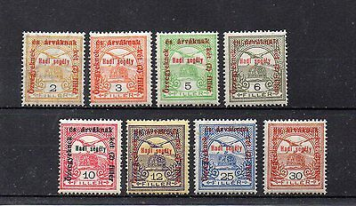set of 8 mint early war charity stamps from hungary