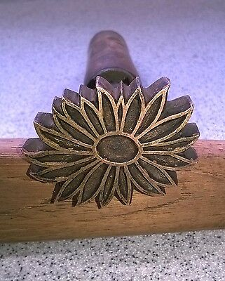 Bookbinders brass hand tool for gold tooling - flower design