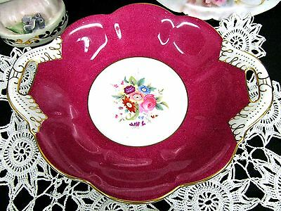 Coalport Red And Floral Painted Bowl With Handles