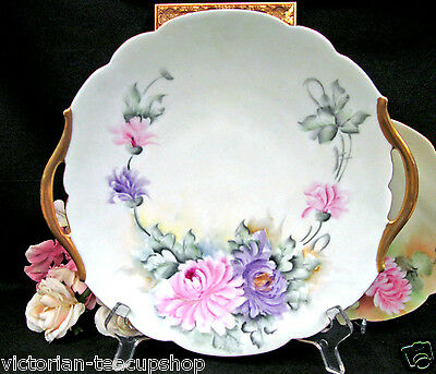 T&v Limoges France Hand Painted Mums  Platter Stunning  Handles Tray