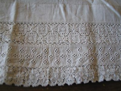 3 Pairs Of White Vintage Curtains Fine Netting With Lace And Open Embroidery