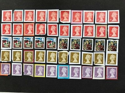 50  unfranked 1st  class stamps on paper  -  Face Value £32