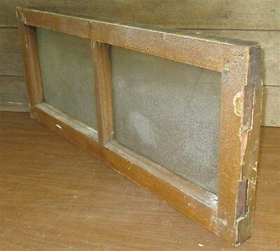 Old Wood Transom Window Stained Slag Glass Pane Vintage Salvage 34 x 14 nn
