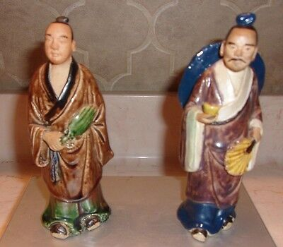 """Vintage Pair of Antique Chinese Mudmen Approx 6"""" ea Marked """"China"""" -Very Nice"""