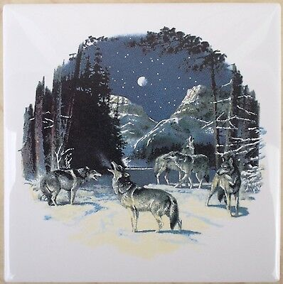 Ceramic Tile With Wolf Pack #7 Wildlife