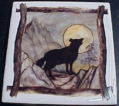 Ceramic Tile With Wolf Sihouette Wildlife