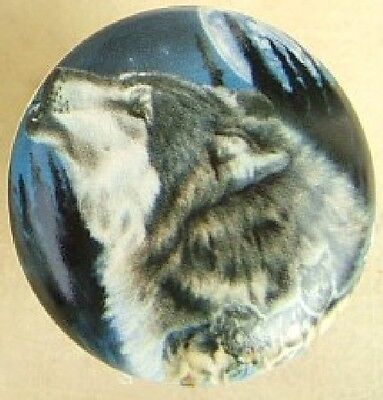 Ceramic cabinet Knobs Knob w/ Wolf Moon WILDLIFE wolves