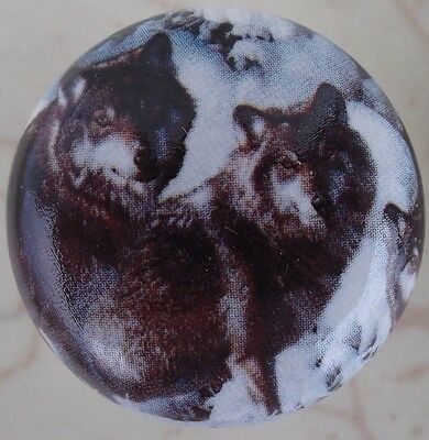 Ceramic cabinet Knobs Knob w/ Wolf Pack #3 WILDLIFE wolves