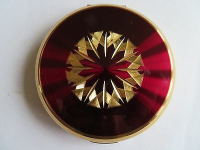 Vintage Stratton Compact Red And Gold Design