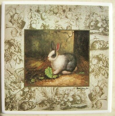 Ceramic Tile Farm Scene Bunnies Bunny Rabbit Toile #1 Twall