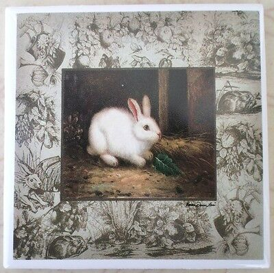 Ceramic Tile Farm Scene Bunnies Bunny Rabbit Toile #2 Twall