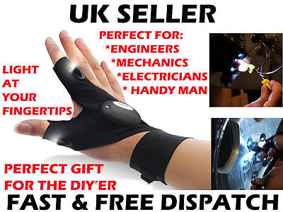LED Light Fingerless Glove Tool DIY Electrician Plumber Mechanic Gift Him UK