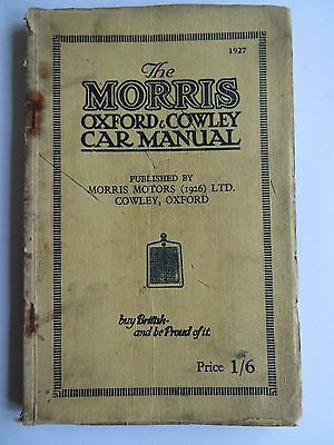 Original Morris Oxford And Cowley Car Manual 1927