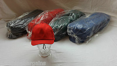 Job Lot x 50 Red Baseball Caps Hats 100% Cotton Adjustable Velcro By JSP NEW