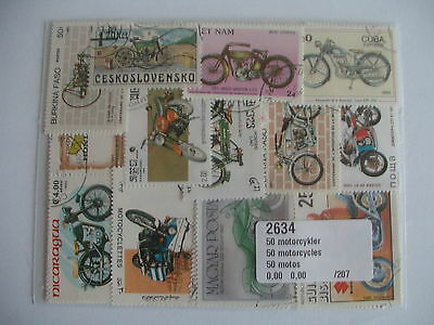 Timbres Transports Motos : 50 Timbres Tous Différents / Motorcycle Stamps