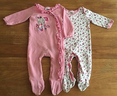 Girls 2 Pack Sleepsuits Age 6-9 Months