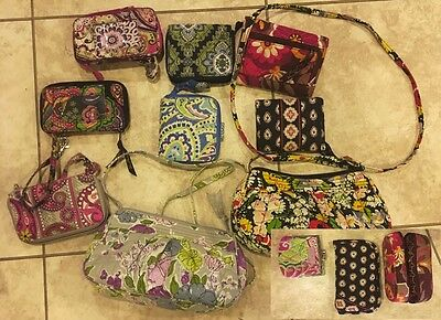 Lot of 12 Vera Bradley Purses Wallets Handbags Glasses Cases