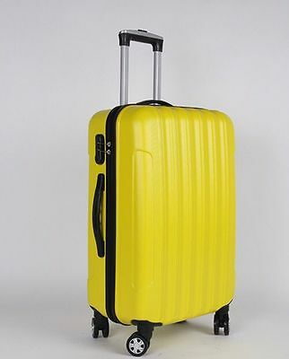GLOBAL 3 Pcs Luggage Travel Set Bag ABS Trolley Suitcase with TSA Lock Yellow