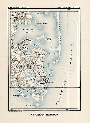 Map of Chatham Harbor, MA- 1892 US Geological Survey map