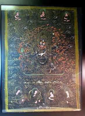 vtg TIBET Asian Thangka Tangka Painting MAHAKALA 6 Arms Buddhas Framed