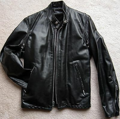 Leather Motorcycle Cafe Racer Biker Riding Jacket sz 36 Black Zipout USA Vintage