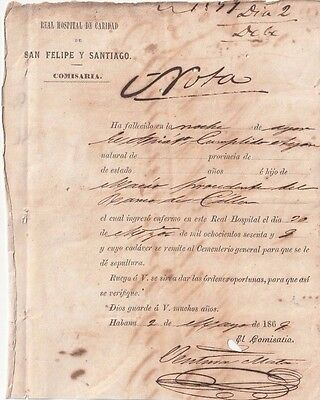 Colonial Spain 1869 CHINESE Indentured Servant Death Certificate: - ,MACAO MACAU