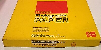 Kodak Polycontrast Rapid RC N 50 Sheets 11 X 14 Photographic Paper Exp 76