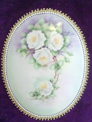 Porcelain Plaque W/ Rosses Hand Painted Over Velvet Wood Tablet