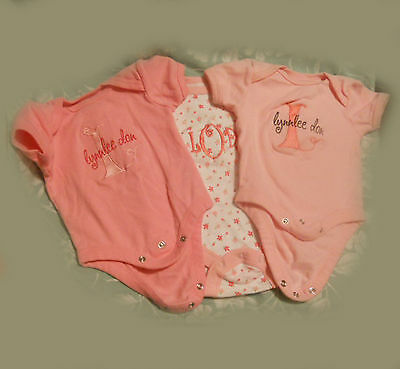 Do you know Lynnlee Don? Here are 3 name-inscribed newborn onesies, 0-3 months
