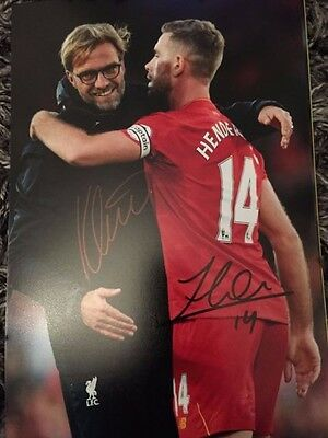 Klopp And Henderson Liverpool Fc Reds Hand Signed 12X8 Photo