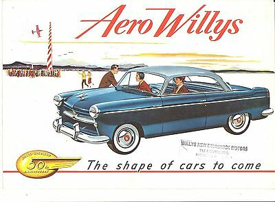 """1953 Willys Aero.. 50Th Anniversary.. Color Advertising Booklet.. 8"""" X 11 & 1/2"""""""