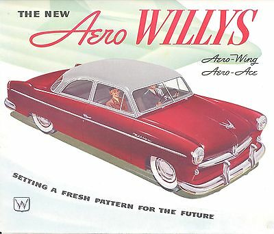 """1950's WILLYS AERO. .. COLOR ADVERTISING BOOKLET. 8"""" X 11 & 1/2"""""""