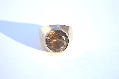 Beautiful Custom Made Smokey Topaz .925 Sterling Silver Ring Size 10