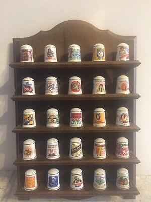 The Country Store THIMBLES Set of 24 with Wooden Shelf FRANKLIN MINT 20 COA'S