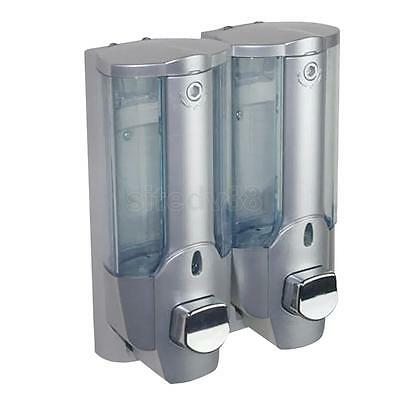 350ml Wall Mount Double Bathroom Shampoo Lotion Liquid Holder Pump Dispenser