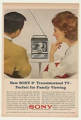 "1964 Sony 9"" Transistorized TV Model 9-304W Print Ad"