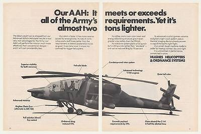 1973 Hughes AAH Army Attack Helicopter 2-Page Ad