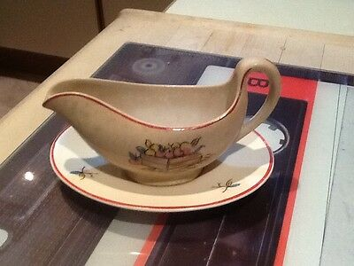 CROWN DUCAL Sauce Boat & Plate