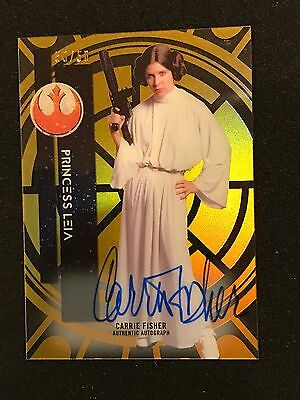 Princess Leia 2015 Topps Star Wars High Tek Auto 50/50 #2 Pattern 1 Sp Autograph