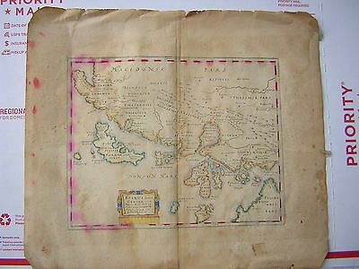 Very Rare Hand Colored Cluverio Filippo 1659 Map Of Macedonia And Areas