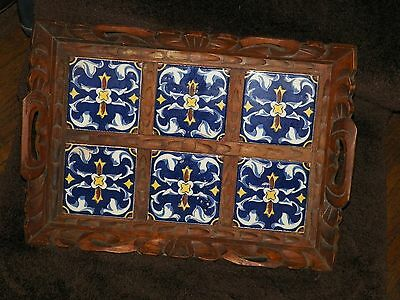 Vintage Hand Carved Mexican Blue Yellow Tile Wood Tray